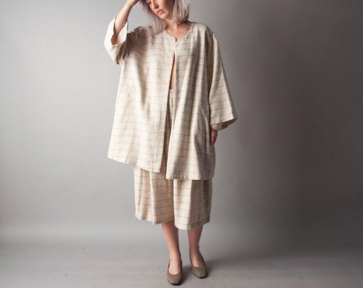 celia inside white striped linen 3 piece pant set / wide leg culotte pant set / linen jacket set / m / 960o (149.00 USD) by persephonevintage