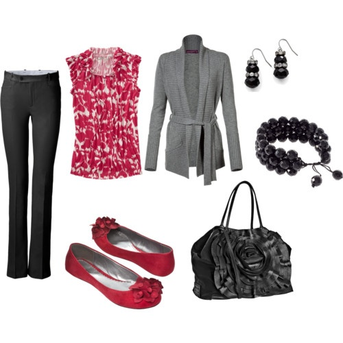 Work Clothes: Shoes, Colors Combos, Work Clothing, Fashion, Black Red Grey, Teacher Clothing, Colors Combinations, Work Outfits, Pink And Gray