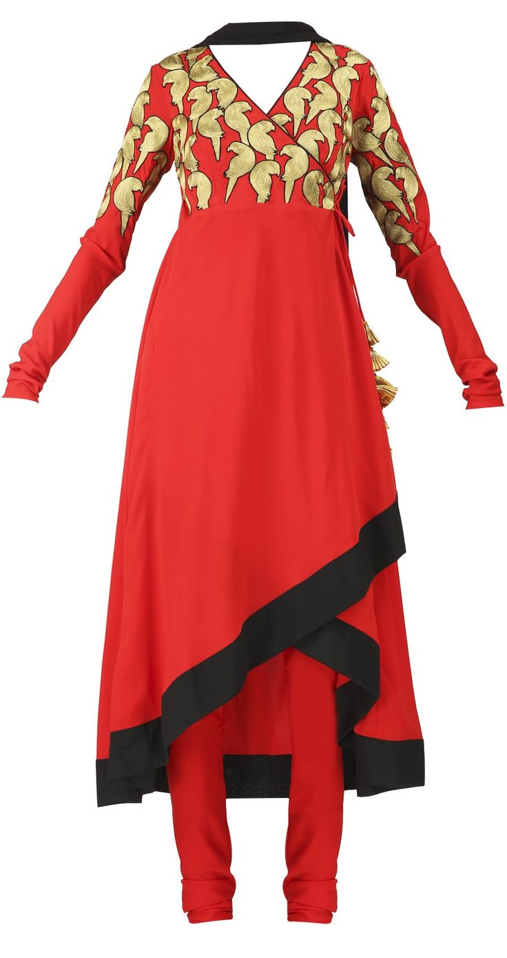 AYINAT BY TANYA O'CONNOR Red angrakha suit Product Code - AWPQ02AY Price -  Rs. 23,675   Description Red crepe angrakha with asymmetric hem.It comes with a black dupatta and red churidaar. COMPOSITION:Crepe, chiffon. CARE: Dry clean only