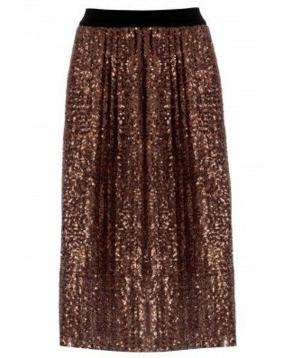 NEW Ex Topshop Rose Gold Sequin Pleated Midi Skirt 6 8 10 12 14