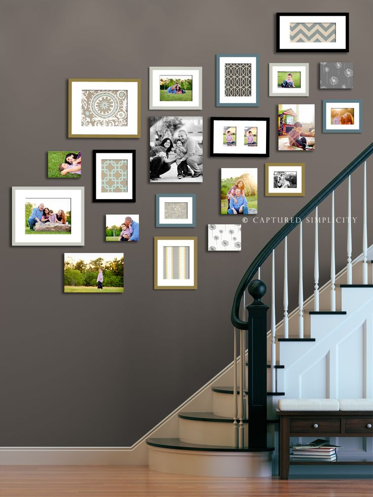 Great gallery wall! Not a fan of many of these, but this one is so well done.   For basement stairs -displaying your photographs at home and using fabric to fill in until more photos may be added. Or if moving exchange your photos out for scrapbooking paper to help depersonalize the space  I like this and the colour of the wall too!
