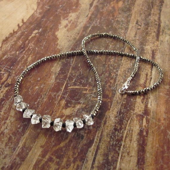 Herkimer Diamond Necklace with Pyrite Beads & Black Spinel Beads, Beaded Necklace, Beadwork Necklace, Woman's Necklace, Statement Necklace on Etsy, $120.00