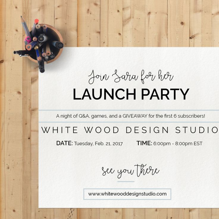 White Wood Design Studio presents: a VIRTUAL LAUNCH PARTY of my new biz and website! I would like to invite you to the launch of my new business on February 21st from 6-8pm   Sara will be talking all about online interior design and what's to come for WW Design Studio!  There will be 2 hours of Q&A, games, and a GIVEAWAY for the first 6 subscribers!! **(the giveaway is a $199 off of the Mini Makeover Package)  Hope to see you all there  Come join the virtual party!