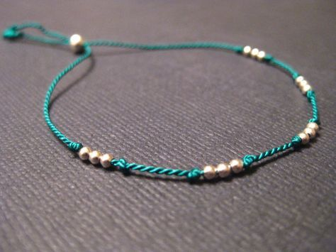 Tiny Sterling Silver Friendship Bracelet Silk Cord Hand Knotted Thin Sexy Minimalist on Etsy, $11.00
