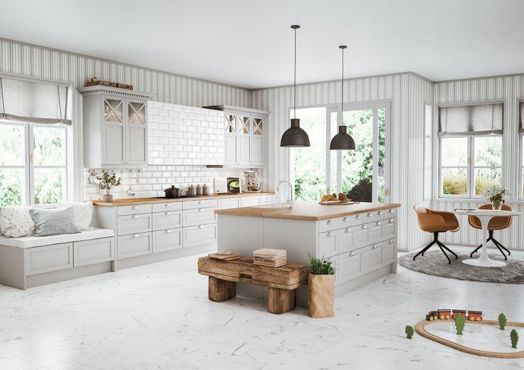 Fasett Mansion Offwhite Epoq-keittiö Gigantista. Ylellinen Mansion on klassinen tuotesarja, joka luo tunteen aidosta käsityöstä. Mansion on sinulle, joka etsit jotain tavallisuudesta poikkeavaa, ajatonta keittiötä, josta voi nauttia monen vuoden ajan. Tammiset työtasot, vanhan ajan vetimet ovissa ja laatikoissa, profiloidut listat ja vitriinikaapit luovat todella rustiikkisen, perinteisen tyylin.