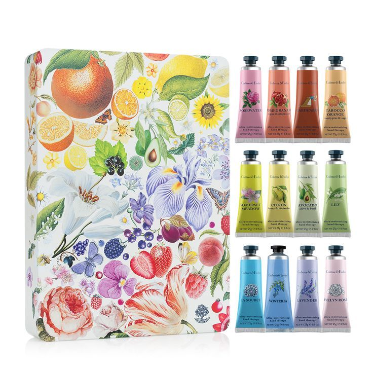 Inside this beautiful floral-design tin are a dozen luxurious reasons why this is the perfect gift for someone you love. Our award-winning Hand Therapy is formulated with shea butter, macadamia nut oil and ceramides for hands that are noticeably softer and smoother with each use. And with so many wonderful fragrances to choose from, part of the delight will be trying to decide which one to indulge in first.