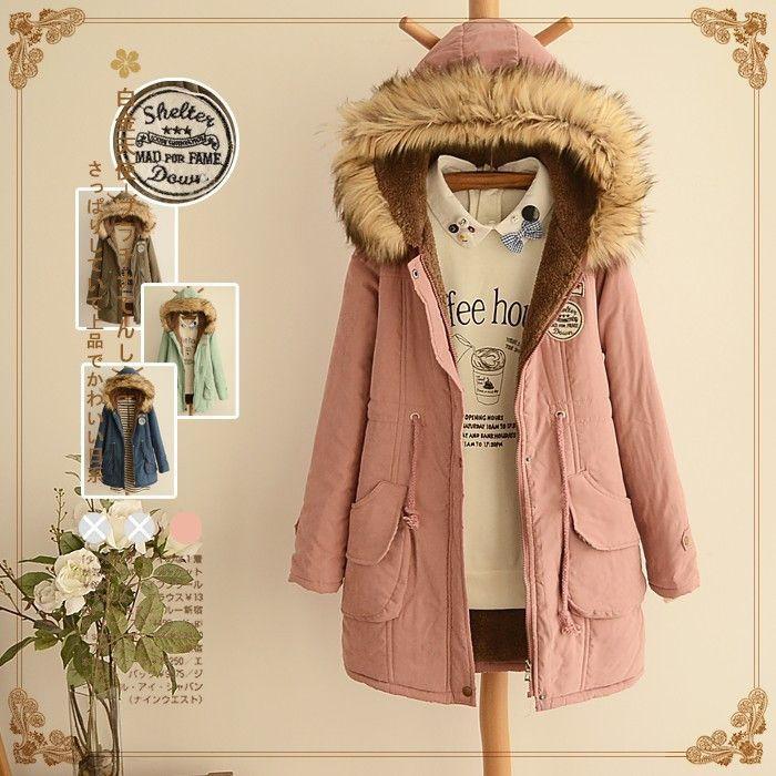 Autumn & Winter Fur Collar Coats Parkas for Women Brand Femal Appliques Hooded Cotton Coats 2016 New Arrival Fashion