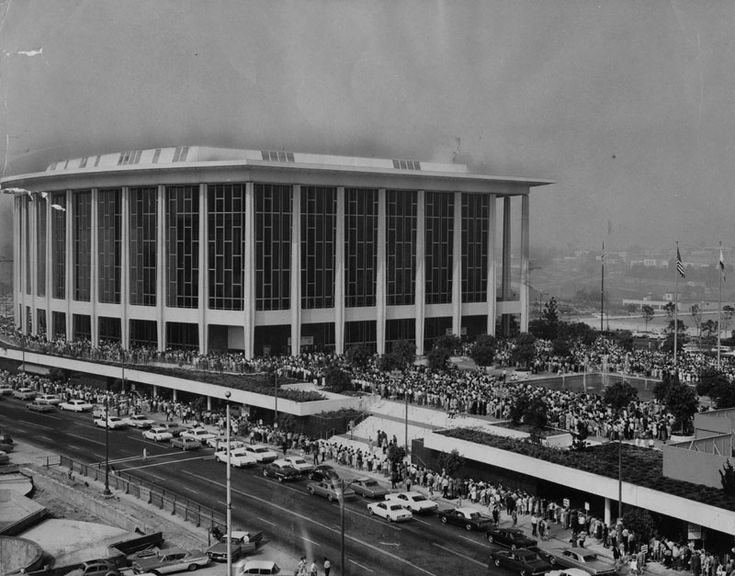 """(1965)* - A record 7,000 fans wait in line at the Los Angeles Music Center on August 30, 1965, to buy tickets of the musical, """"Hello Dolly."""" The show opens September 14 at the Dorothy Chandler Pavilion."""