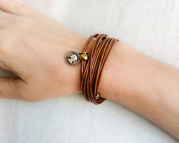 Womans leather wrap bracelet, Brown leather cuff, Leather multi strand customized bracelet, Beaded charm choker, Boho Leather gifts for her