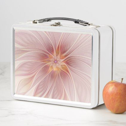 Soft Pink Floral Dream Abstract Modern Flower Metal Lunch Box - home decor design art diy cyo custom