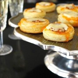 Mini Puff Pastry Tarts with Apricot, Pecan, and Brie. The food and fashion of The Great Gatsby.