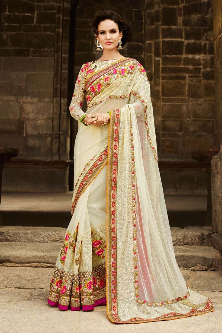 Cream Net Wedding Saree