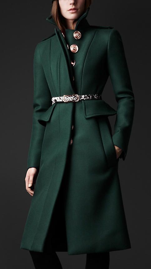 Love the double kick pleat, epaulets and peplum. Not too sure about the oversized snaps... Wool Twill Peplum Coat | Burberry