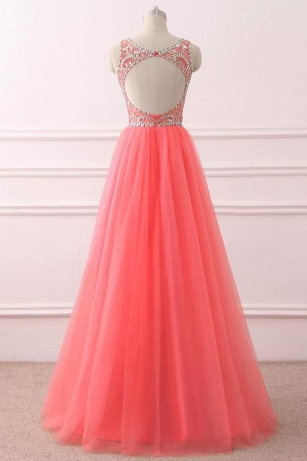 1a2eb5a60f Coral Beaded Long Formal Gowns