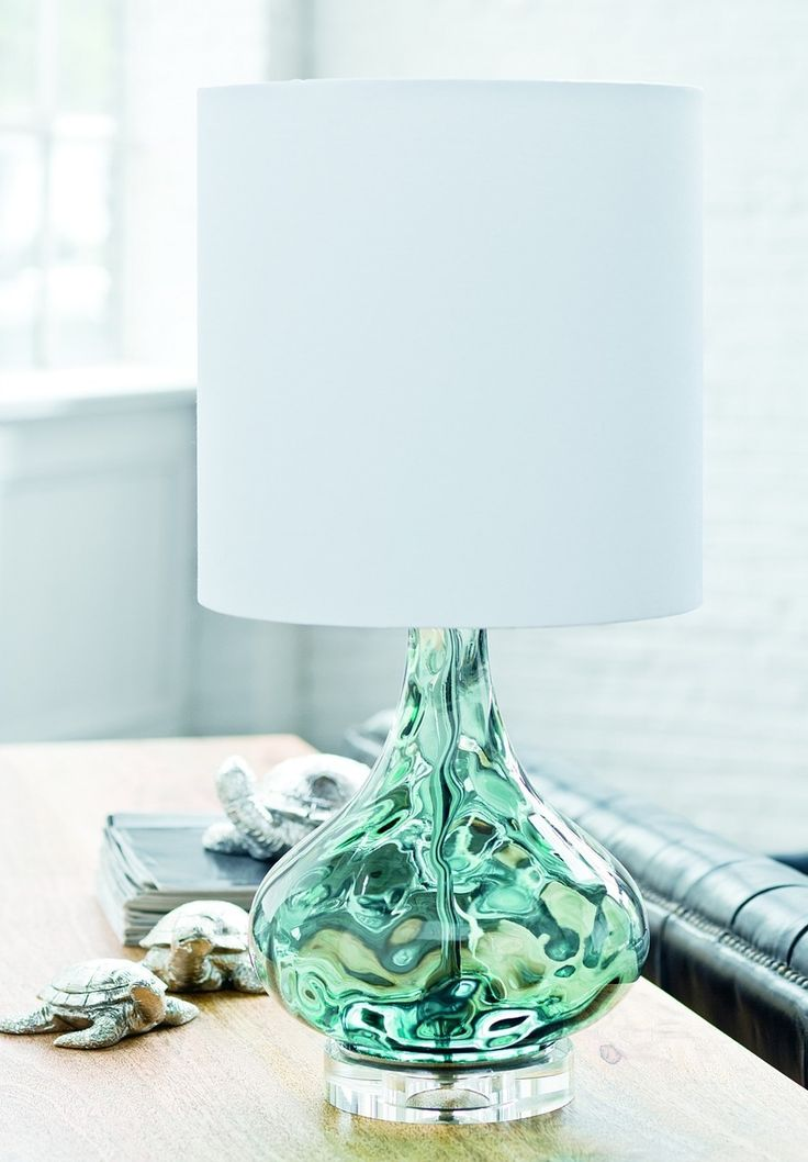 Look for the little sea turtles too! Peacock Blue Gem Lamp