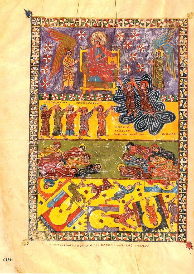 "Beato de Escalada: Lámina 3 or Beatus manuscript of San Miguel, Escalada. ""The two witnesses went up to heaven and the earthquake occurs"".  922-958? CE."