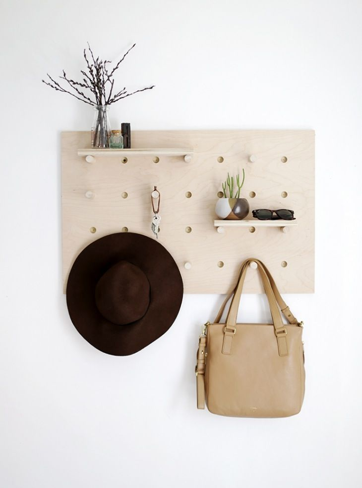 DIY a minimalist pegboard wall organizer as gorgeous organizational home decor.