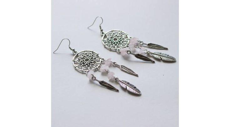 Álomfogó fülbevaló - zizi rózsakvarc, Zenzero kristályékszerek webshopja