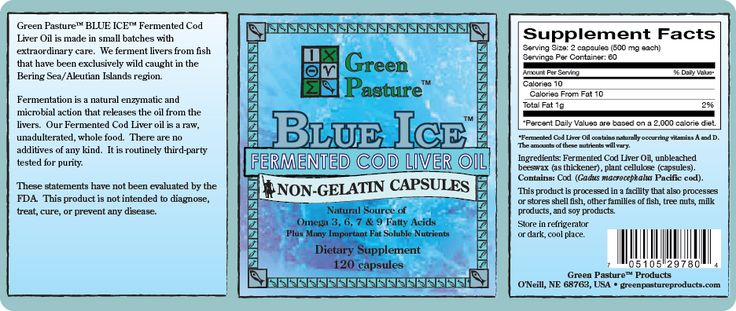 BLUE ICE FCLO - Non Gel Capsules Large Labels Front & Back