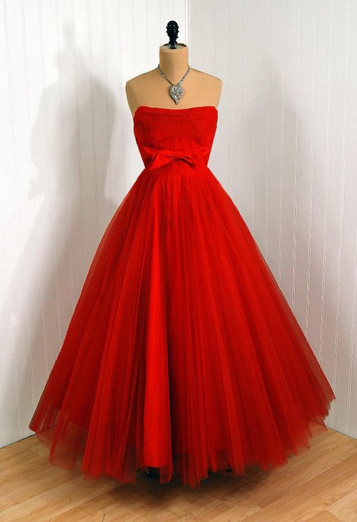 1950s Dress with Red Tulle