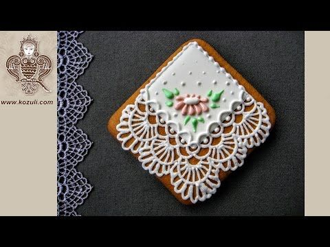 VIDEO TUTORIAL @kozuli_com  // Lace Handkerchief Cookies // Mother's Day Cookies / Lace cookies / Icing lace cookies / Royal icing cookies / Icing cookies / Decorated cookies / Cookie decorating / Cookie decorating ideas / Sugar cookies / Sugar cookie icing   / More video tutorials at www.kozuli.com