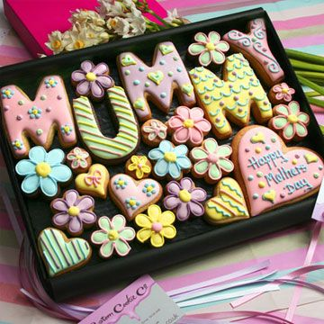 Large 'Mummy' Box Hand decorated letter flower cookies presented in a premium gift box. Nice if you need a gift to send