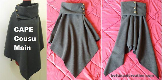 Bettinael.Passion.Couture.Made in france: DIY: Cape/ Poncho, tutoriel couture gratuit #couture #patrongratuit #freepattern