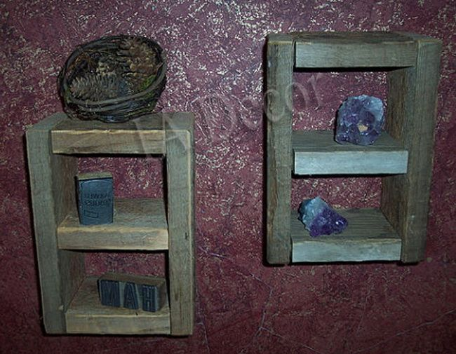 Reclaimed Wood Wall Cubby Barnwood Wall storage Barn Wood knick knack shelf