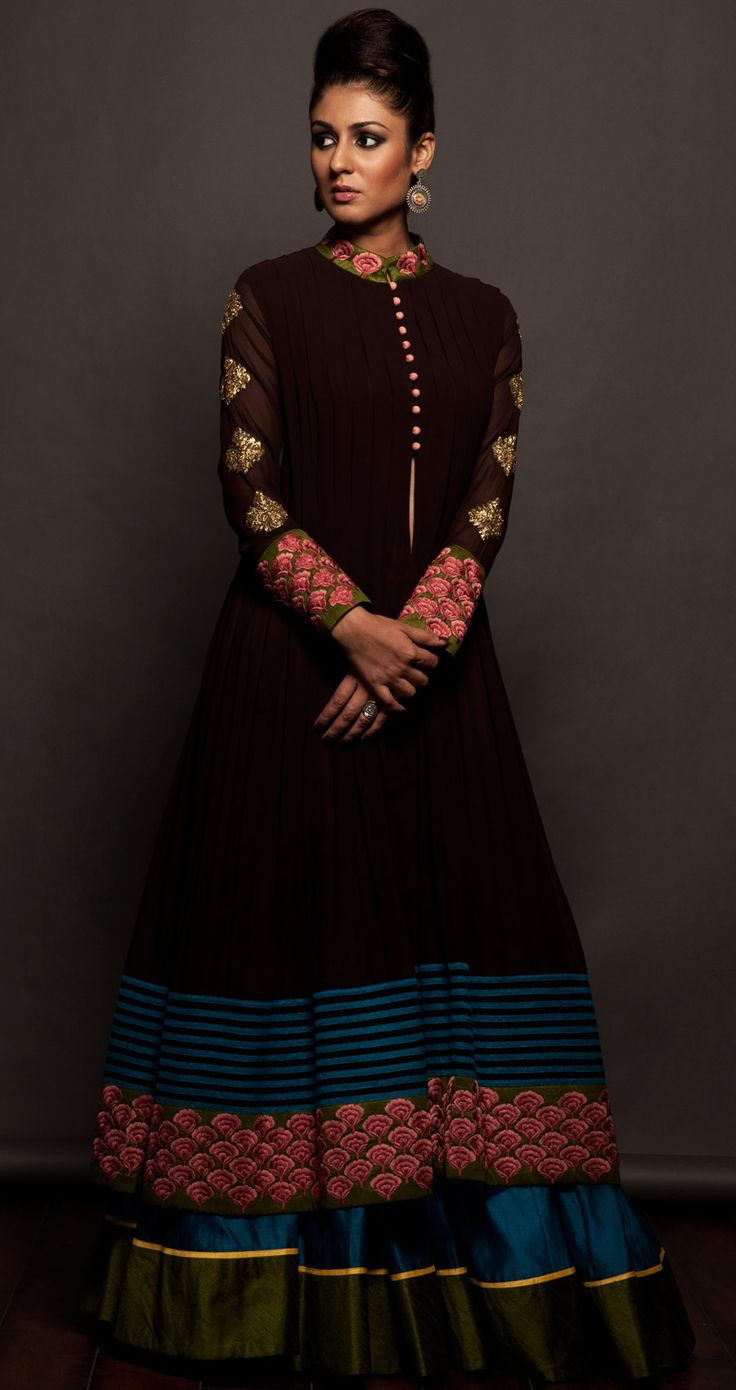 Coffee brown jacket and lehenga set available only at Pernias pop-up shop.