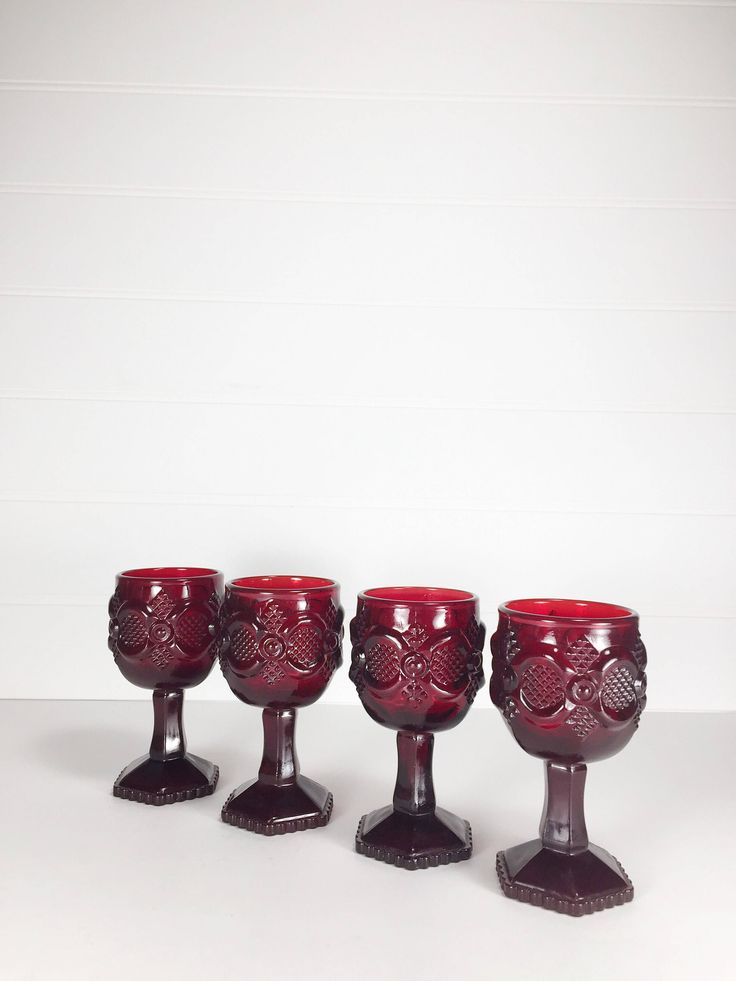 Vintage Avon 1876 Cape Cod Collection Ruby Red Goblets by LeroyBrownFurnishing on Etsy