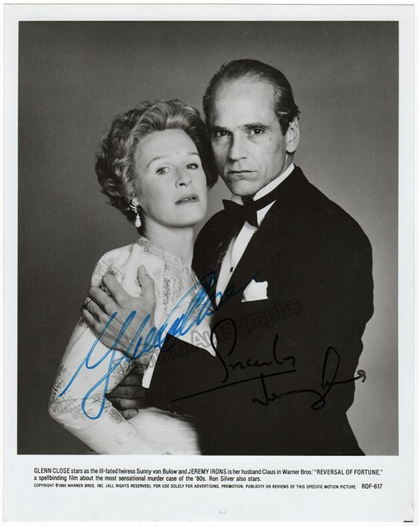 """Close, Glenn - Irons, Jeremy - Double Signed Photo in """"Reversal of Fortune"""""""