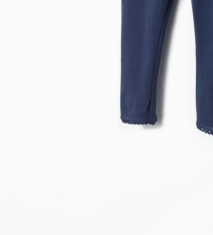 Imagem 4 de Leggings algodão orgânico pormenor renda da Zara