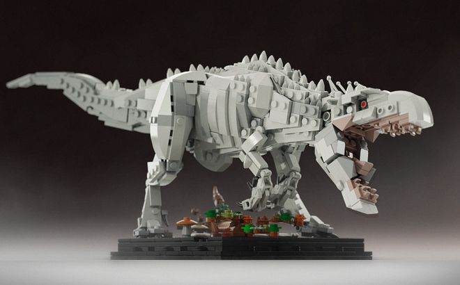 The most fearsome dinosaur ever displayed in Jurassic World - now built from Lego bricks!  This Henry Wu's creation is a hybrid of Tyrannosaurus rex, Giganotosaurus, Majungasa...
