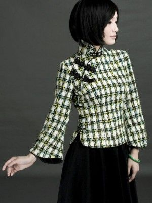 Wool Plaid Qipao Top / Chinese Blouse