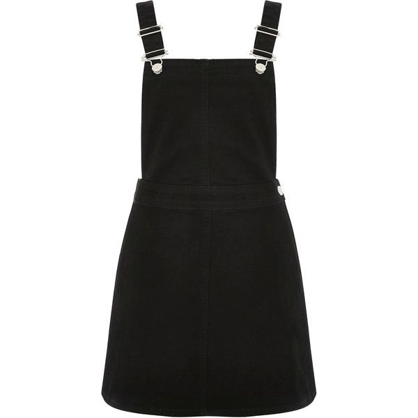 OASIS Denise Dungaree Dress (155 AUD) ❤ liked on Polyvore featuring dresses, black, dungaree dress and oasis dress