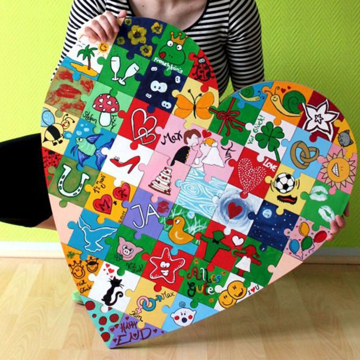 Holz Puzzle Herz bemalen - Hochzeitsspiel Holz Puzzle Herz zur Hochzeit zum bemalen - Von allen Gästen werden die Puzzleeinzelteile bemalt und zusammengefügt!