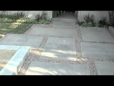 Modern Patio Design Tips. concrete slab walkway with gravel fill