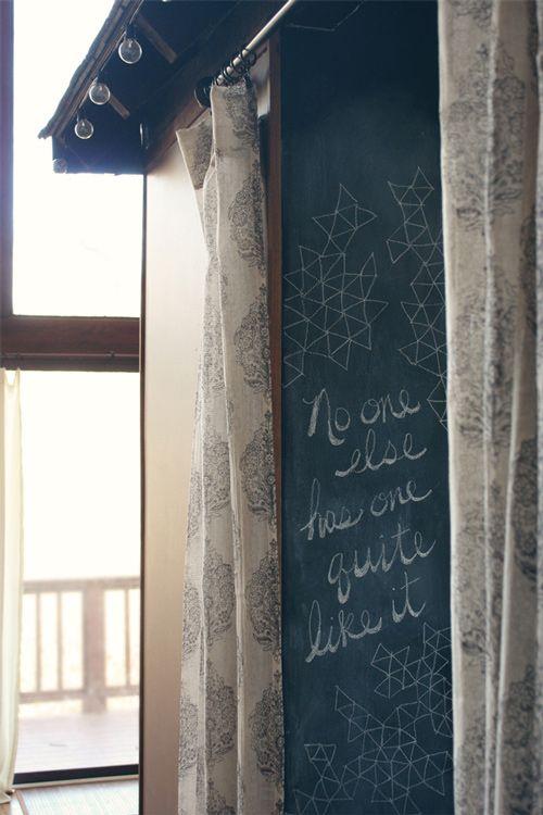 sweet.Spaces, Chalkboards Windows, Blackboard, Chalkboards Painting, Interiors Design, Design Sponge, Handwriting, Boards Design, Chalkboards Wall