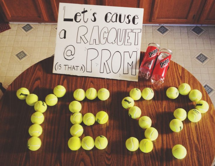 Promposals are adorable. This is how you ask a tennis player to prom. Puns are always the best to use.