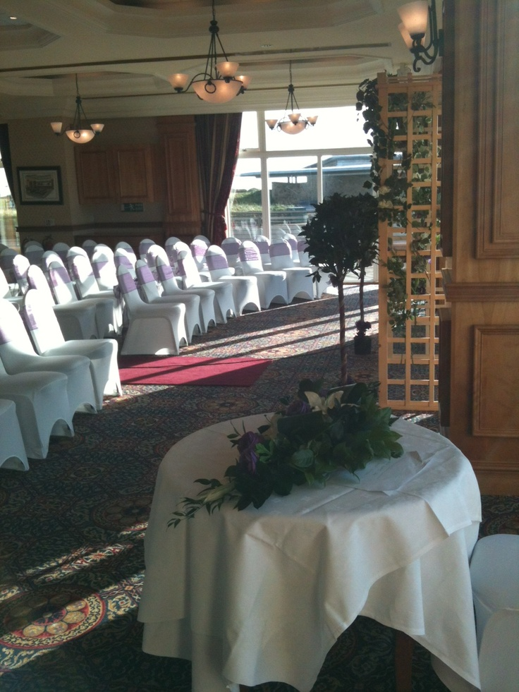 Dalhousie Restaurant setup for a wedding ceremony overlooking the 1st Tee of the Championship Golf Course. This venue can sit up to 110 guests.