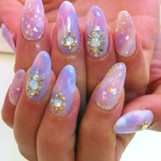Nails, Nail Art, Nail Design, Japanese Nail Art, Long Nails, Acrylics, Almond Nails, Marbled, Gold Studs, Silver Glitter, Opal, Iridescent Glitter, Pink, Blue, Purple