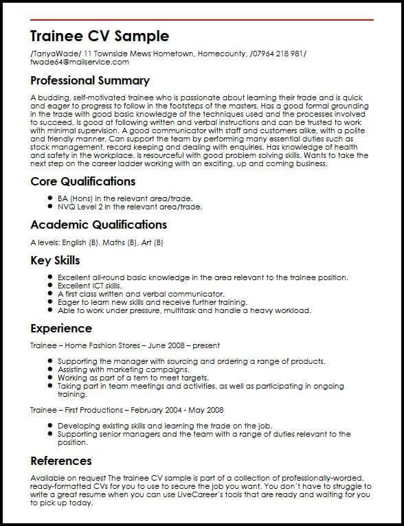 Trainee Cv Sample Myperfectcv Good Cv Resume Examples Best Cv Template Good Cv Cv Template