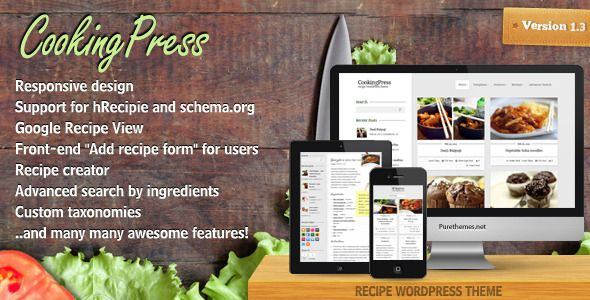 CookingPress is a WordPress theme for foodies. This recipe theme will let you share all your recipes and cooking tips with wide audience. It's one of the first WordPress recipe themes with support for Google Recipe View. What does it mean? it means that your blog will be understand not only by people, but also by search engines.