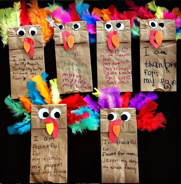 Paper Bag Turkey Puppets (Thanskgiving Craft)
