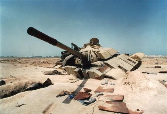 A T-55 Enigma knocked out during the Battle of Khafji.
