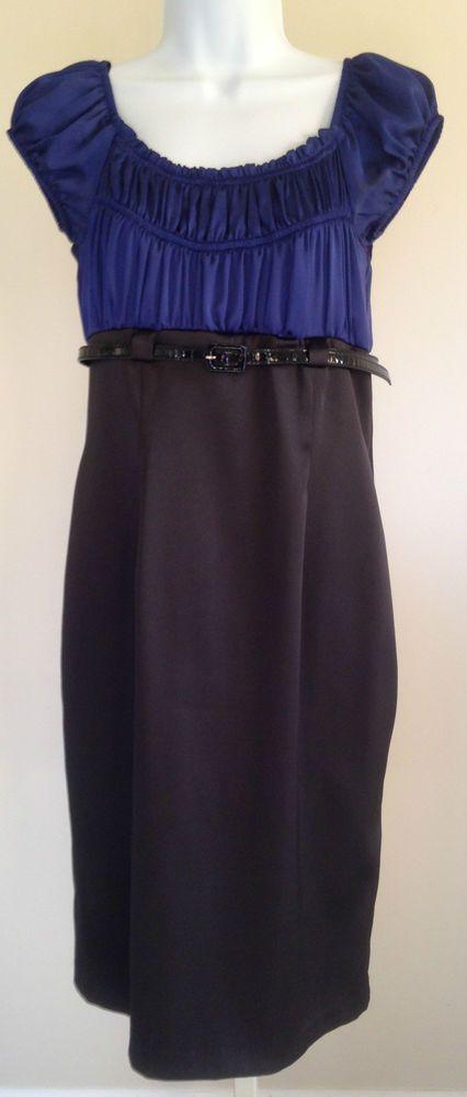 DRESSBARN Women's 4 empire waist Dress cap sleeve Special Occasion Blue Black    eBay