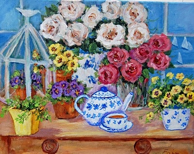 Erin's cheerful painting. She can be found with her darling studio assistant Bentley at the Painted Garden.