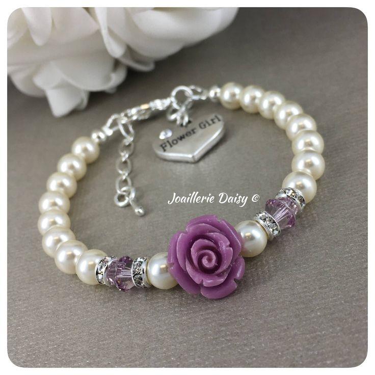 Flower Girl Gift Flower Girl Bracelet Swarovski Lavender Bracelet Purple Jewelry Gift for Flower Girl Violet Wedding Gift Idea for Girls by dcjoaillerie on Etsy https://www.etsy.com/ca/listing/586471783/flower-girl-gift-flower-girl-bracelet