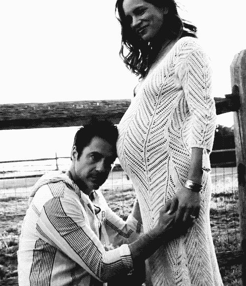 "Robert Downey Jr. and Susan Downey while she was expecting Exton, in the film ""New Life."""
