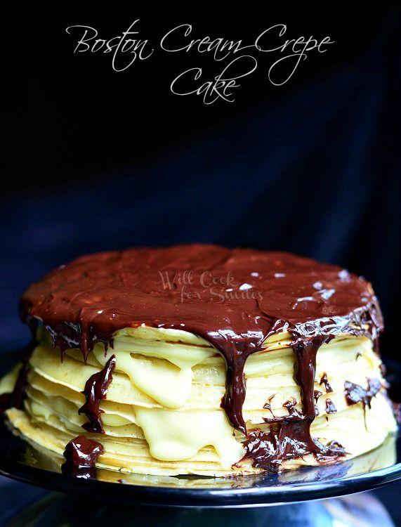 Boston Cream Crepe Cake (c) willcookforsmiles.com